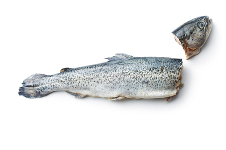 rearing of fish: the gutted trout on white background Stock Photo