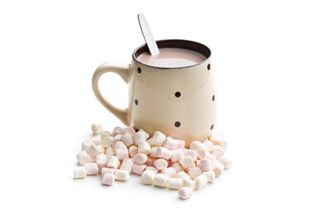 spongy: mini marshmallows and cocoa drink on white background