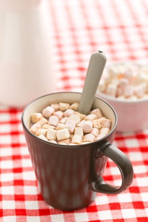 spongy: Cocoa drink with marshmallows in mug on checkered tablecloth