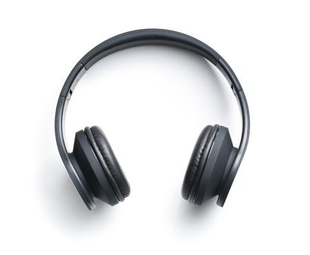 auriculares: Auriculares inalámbricos en el fondo blanco Foto de archivo