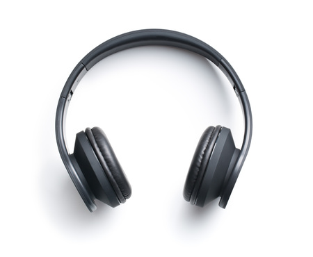 electronic music: Wireless headphones on white background