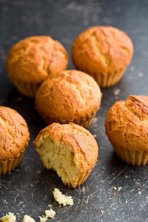 muffin: sweet muffins on old kitchen table Stock Photo