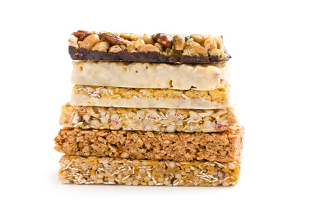 white bars: muesli bars on white background