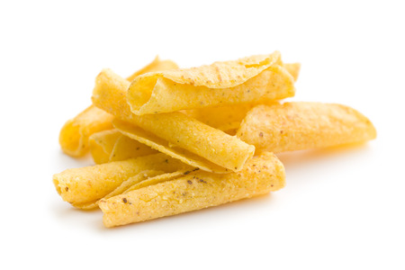nacho: rolled nacho chips on white background