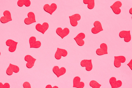 hearts background: paper hearts on pink background