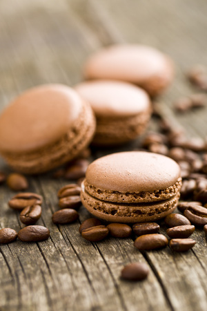 confectionery: macarons with coffee flavor and coffee beans