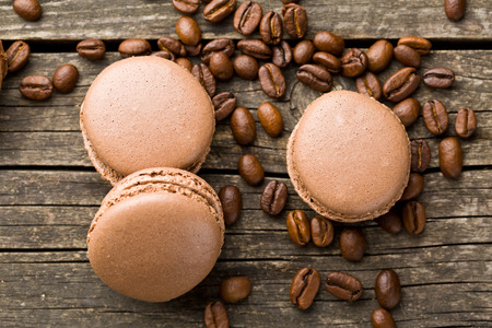 flavours: macarons with coffee flavor and coffee beans