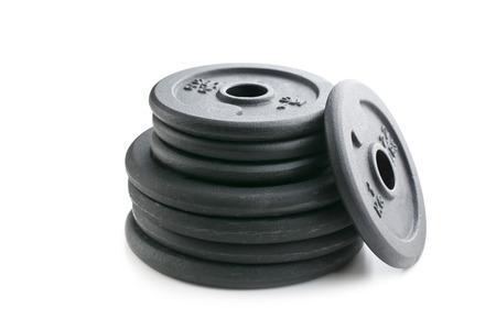 kilos: Dumbbell weight on white background Stock Photo