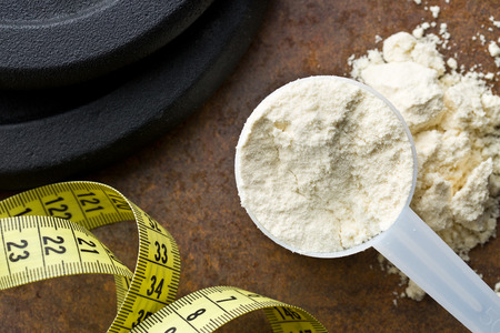 whey: the whey protein in scoop Stock Photo