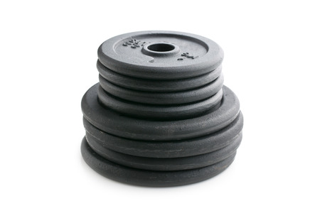 Dumbbell weight on white background Stock Photo