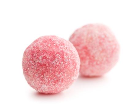 marzipan: pink marzipan balls on white background