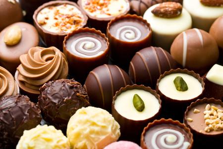 veel verschillende chocoladepralines