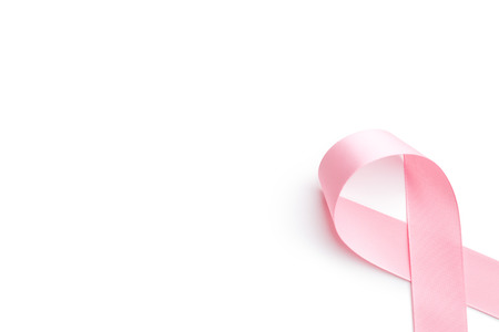 pink ribbon breast cancer on white background