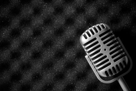 microphone: vintage microphone on acoustic foam
