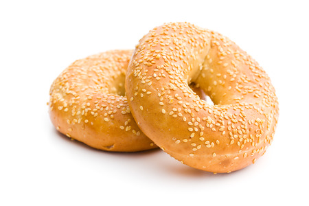 food products: tasty bagel with sesame seed on white background Stock Photo