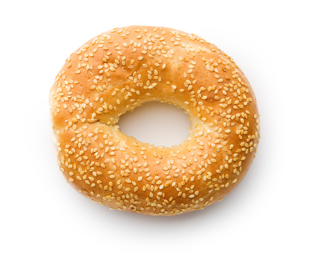 tasty bagel with sesame seed on white background Foto de archivo