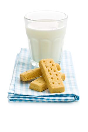 shortbread: shortbread fingers with milk on white background