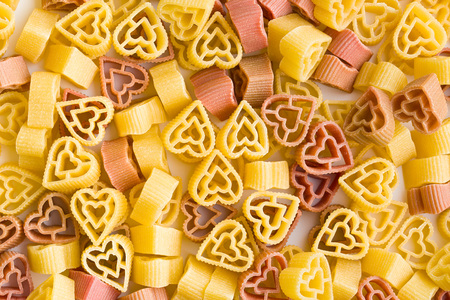 shaped: the dried heart shaped pasta