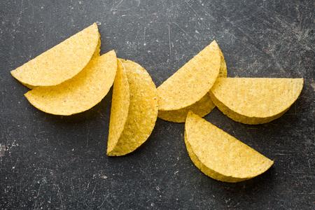 tortillas: crispy taco shells on old kitchen table