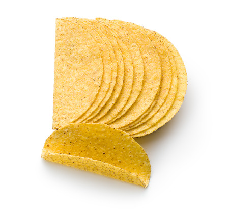 tortillas: crispy taco shells on white background
