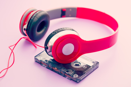 hit tech: the cassette tape and headphones Stock Photo