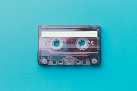 cassette tape on colorful background