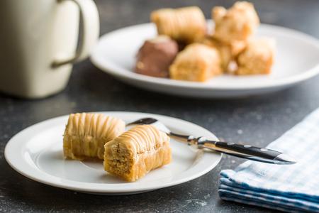 baklawa: sweet baklava dessert on plate