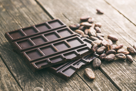 the dark chocolate and cocoa beans