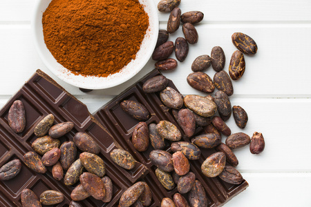 cacao: the dark chocolate, cocoa beans and cocoa powder