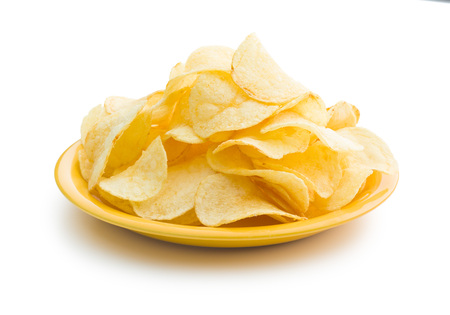 crispy: Crispy potato chips on a plate