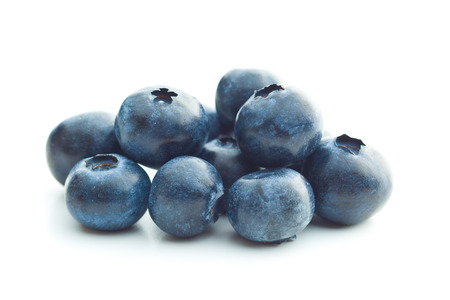 antioxidant: Tasty blueberries isolated on white background. Blueberries are antioxidant organic superfood.