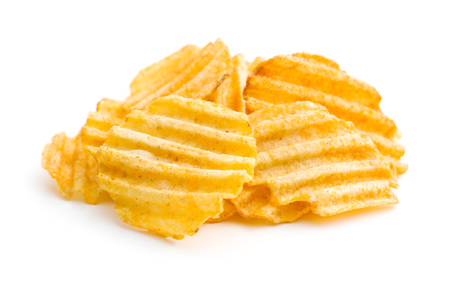 crinkle: Crinkle cut potato chips isolated on white background.