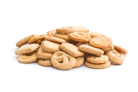 biscuits: Sweet butter biscuits. Cookies isolated on white background.