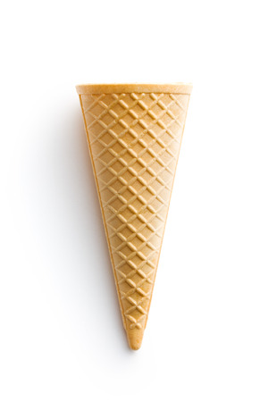 Sweet wafer cone isolated on white background.