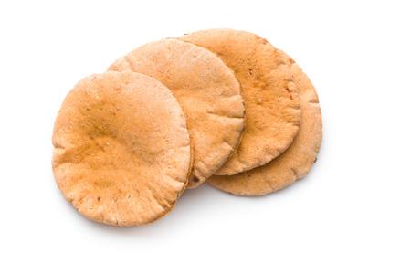 pita: Tasty pita bread isolated on white background. Stock Photo