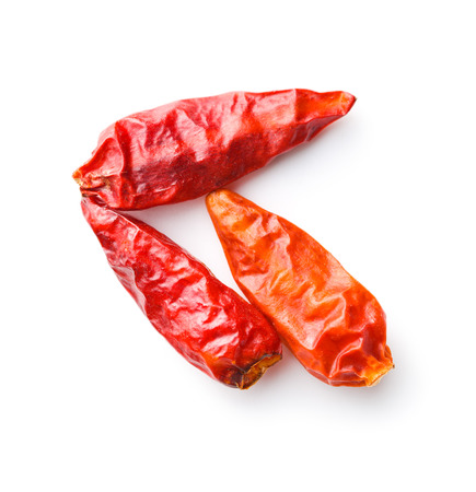 Dried mini chili peppers isolated on white background.