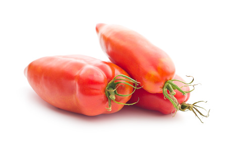 san: San Marzano tomato isolated on white background. Stock Photo
