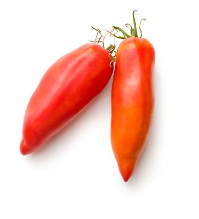 San Marzano tomato isolated on white background. Stock Photo