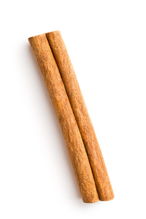 cinnamon stick: Cinnamon stick isolated on white background. Top view. Stock Photo