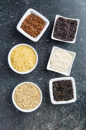 varieties: Different rice varieties. Top view.