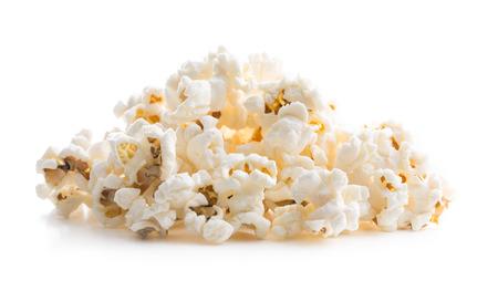 Tasty salted popcorn isolated on white background.