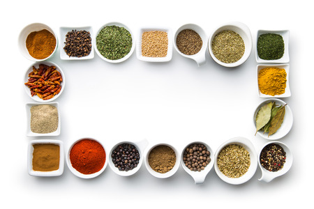 dried herbs: Various dried herbs and spices isolated on white background.