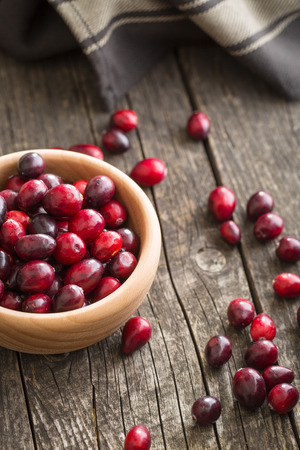 vaccinium macrocarpon: The tasty american cranberries in bowl on old wooden table.