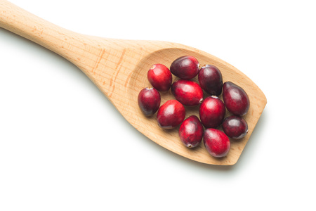 vaccinium macrocarpon: The tasty american cranberries in wooden spoon isolated on white background. Stock Photo