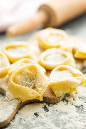 white flour: Italian traditional tortellini pasta and white flour.