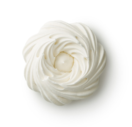Sweet white meringue isolated on white background.