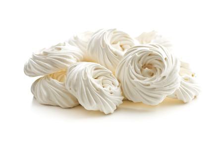 Sweet white meringue isolated on white background.