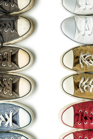 shoelace: The vintage sneakers isolated on white background. Top view.