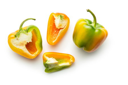 bell peper: Multicolored bell pepper isolated on white background. Top view. Stock Photo