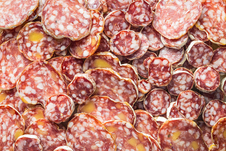 moulded: Tasty sliced salami. Top view. Stock Photo